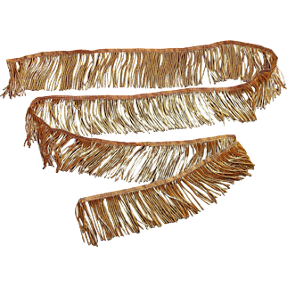 58 inches French old gold metallic fringe trim passementerie