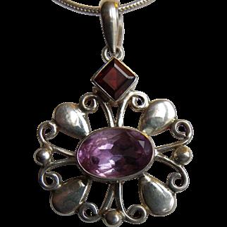 Vintage silver pendant necklace, amethyst and garnet