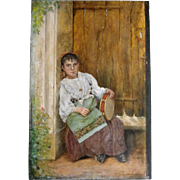 Antique French oil on painted panel, girl with tambourine