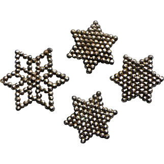 4 antique french Cut Steel Buttons 5-pointed star 19th century