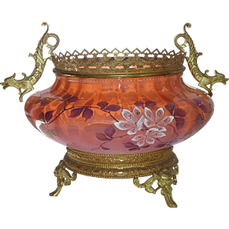 Antique, bronze and opaline crystal, centerpiece French 19th century