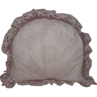 Precious baby pillow case French 19th century lace and organdie