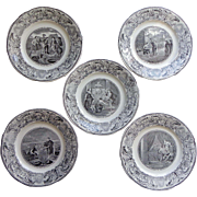 Set of 5 black and white French transfer plates from a series called 'The Bible' dating from 1849-1867. The back has the mark: Lebeuf Milliet et Cie -