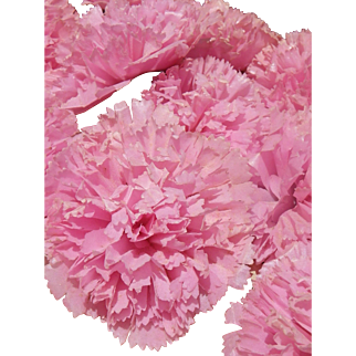Extraordinaire antique French waxed paper flower, carnations light pink