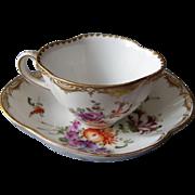Antique Meissen Cup and Saucer quatrefoil 19 th century