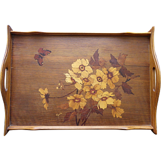 French tray Art Nouveau marquetry signed Guth