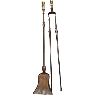 French 19th century set of 2 iron tools for fireplaces with brass bust