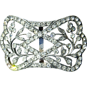 Antique french silver tone buckle and rhinestones Napoleon III