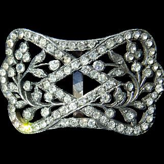 Antique french silver tone buckle and rhinestones Napoleon III