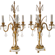 """21"""" pair of candelabra French neoclassical girandole, early 20th century"""