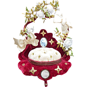 French red and ivory boudoir wedding display stand more than 30 porcelain roses  19th century