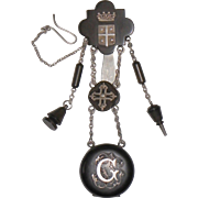 Mourning watch chatelaine in silver and gutta percha antique French