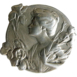 French Art Nouveau silver brooch woman with irises