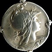 French Art Nouveau silver brooch goddess Athena