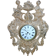 """XXL antique cartel wall clock of a Parisian department store """"Au Tapis Rouge"""""""