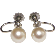 Antique French screw back silver earrings and cultured pearls # 2