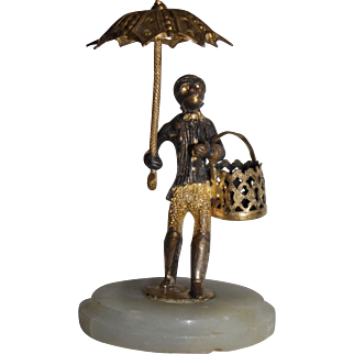 Antique bronze Vienna monkey with umbrella and basket