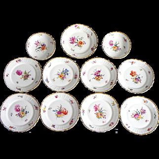 Set 11 pieces with antique dessert Royal Copenhagen