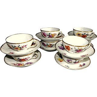 Set 8 cups and saucer, antique Royal Copenhagen