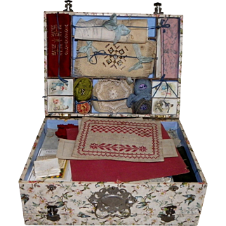 Amazing antique double box sewing embroidery and tapestry French Circa 1900