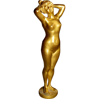 French Art Nouveau woman bathing gilded bronze