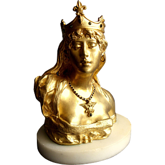 Incredible bust of Salome Gold-plated bronze antique French signed
