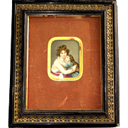 Antique French fixed under glass, self-portrait Vigée Le Brun  with Her Daughter