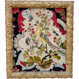 Antique French Fragment of tapestry framed