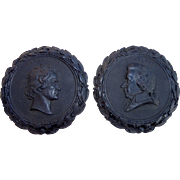 Antique pair of wall plate gutta percha Mozart and Beethoven