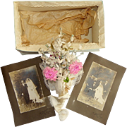 Antique French bridal wedding bouquet silk and fabric handmade CIRCA 1912 with wedding photo # 2