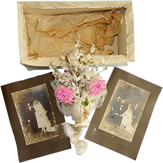 Antique French bridal wedding bouquet silk and fabric handmade CIRCA 1912 with wedding photo # 2