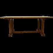 Pine Stretcher-Base Farmhouse Trestle table
