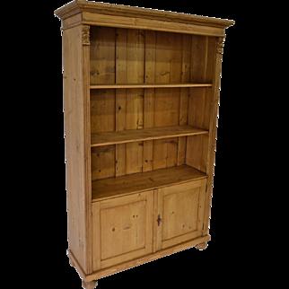 Pine Bookcase with Doors