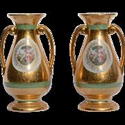Pair of Large Le Mieux Gilt Transferware Vases