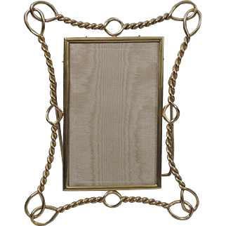 Antique English Brass Picture Frame  with Nautical Rope Motif