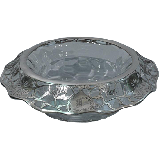 Large Art Nouveau Centerpiece Bowl with Floral Silver Overlay