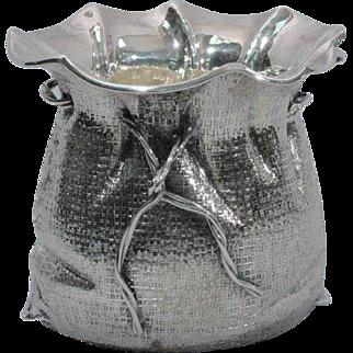 Unusual Italian Sterling Silver Sackcloth Sauceboat - Rustic Trompe l'Oeil