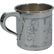 Adorable Sterling Silver Baby Cup with Nursery Rhymes by International