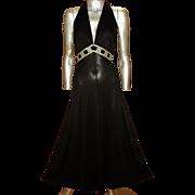 Vintage Halter Fluid Maxi Dress Gold and Velvet Empire Sash by Studio St. Croix