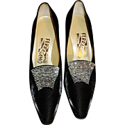 Salvatore Ferragamo Stunning Runway High Heel Leather & Silk Shoes Swarovski Crystal Buckle