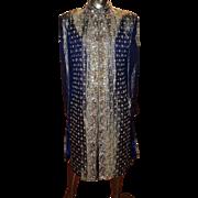Vintage Ethnic coat fully beaded metallic raised brocade cobalt blue fully lined Amazinnngggg