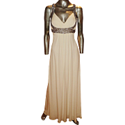 Vintage Jovani Grecian gown Austrian crystal straps and empire bodice