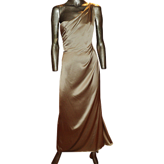 Vintage Jackie Rogers silk one shoulder maxi draped gown silver