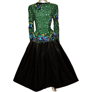 Vintage Scaasi Boutique ball Gown Heavily Embellished and Embroidered bodice & sleeves