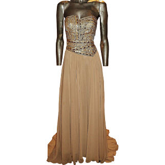 Vintage strapless Gold Embellished Couture Chiffon trumpet gown by Terani