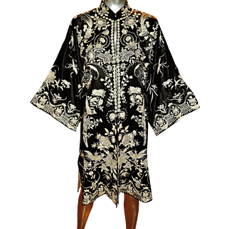 Vintage exquisite 1940's Elaborately all embroidered silk Kimono
