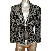 Vintage Escada silk couture Runway jacket heavily embellished beads sequins embroidery kitten bow