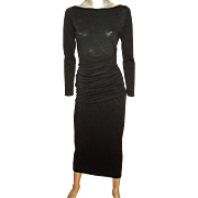 Vintage French Tehen Irena Gregori body con crepe jersey dress cross over made in France