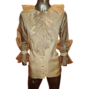 Vintage Saks fifth Avenue 1970 Couture Organza ruffled poet blouse front buttons