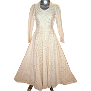 Vintage 1940's all embroidered eyelet tea/garden midi dress full sweep hook & eye